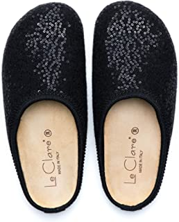 Le Clare Nebraska Shine Black Wool Felt Clog House Slippers for Women with Arch Support Cork Insole Indoor Outdoor Sole