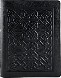 Genuine Leather Composition Notebook Cover with Insert, 8.25x10.25 Inches, Bold Celtic, Black, Made in the USA by Oberon Design