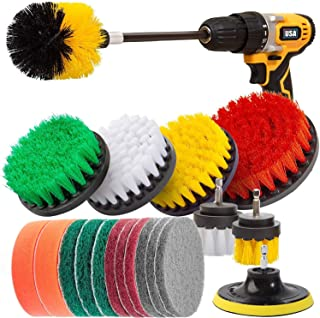 Wingsflying 20Pcs Drill Brush Attachments Set,Scrub Pads & Sponge, Power Scrubber Brush with Extend Long Attachment All Pu...