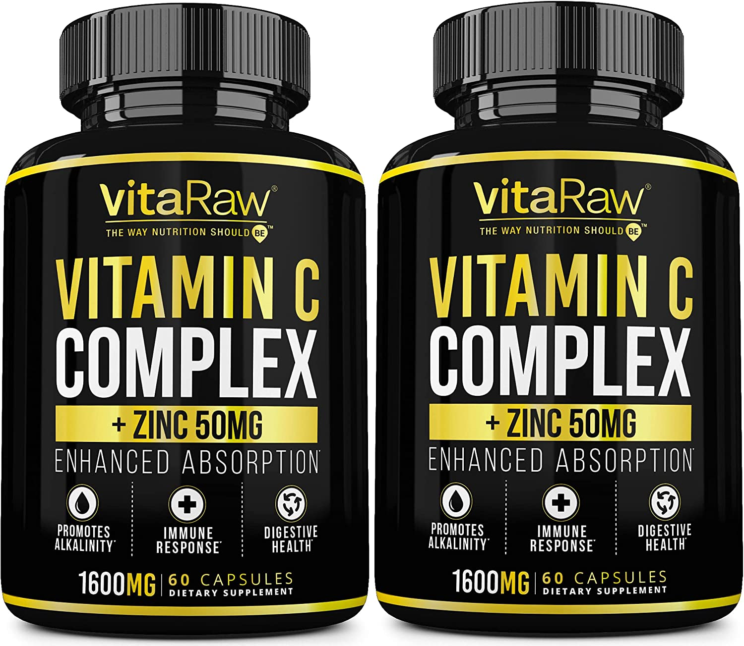 Vitamin C Supplement [2 Pack] 1600mg with Zinc 50mg |Highest Absorption| Vitamin C Immune Support Complex - Vitamin C Capsules & Zinc Vitamins for Adults | VIT C Immune Booster: Health & Personal Care