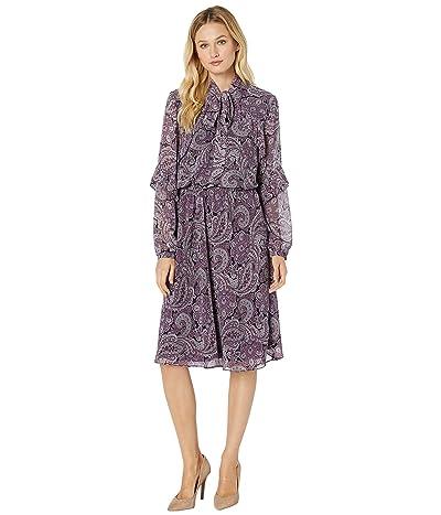 LAUREN Ralph Lauren Paisley-Print Georgette Dress (Plum Wine Multi) Women