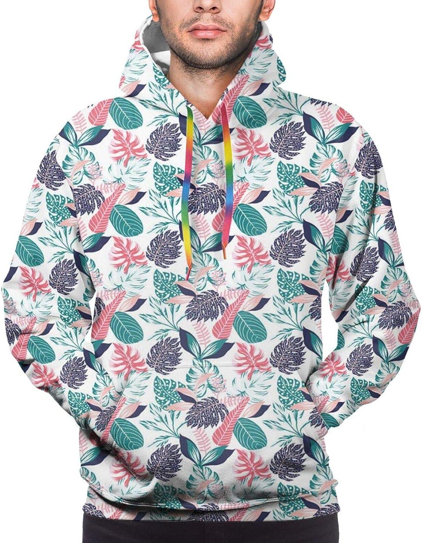 Men's Hoodies Sweatshirts,Cartoon Style Mexican Flora Arrangement On Pink Tones Simplistic Succulent