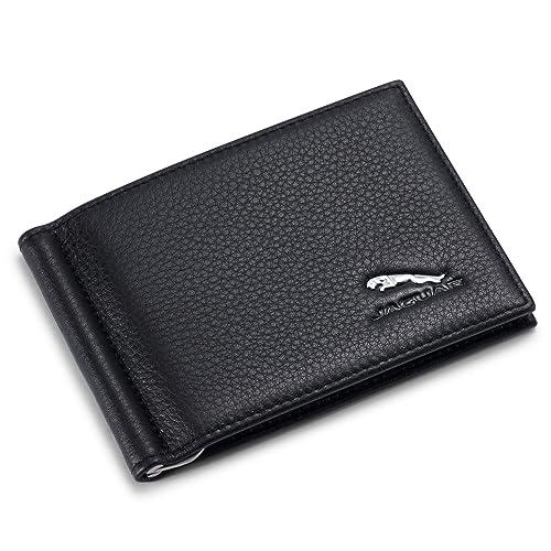 Jaguar Bifold Money Clip Wallet with 6 Credit Card Slots - Genuine Leather