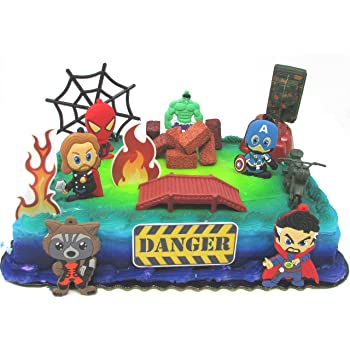 Marvelous Amazon Com Avengers Deluxe Super Hero Birthday Cake Topper Set Personalised Birthday Cards Rectzonderlifede