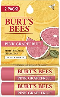 Burt's Bees Pink Grapefruit Moisturizing Twin Pack Lip Balm, 2 x 0.15 oz.