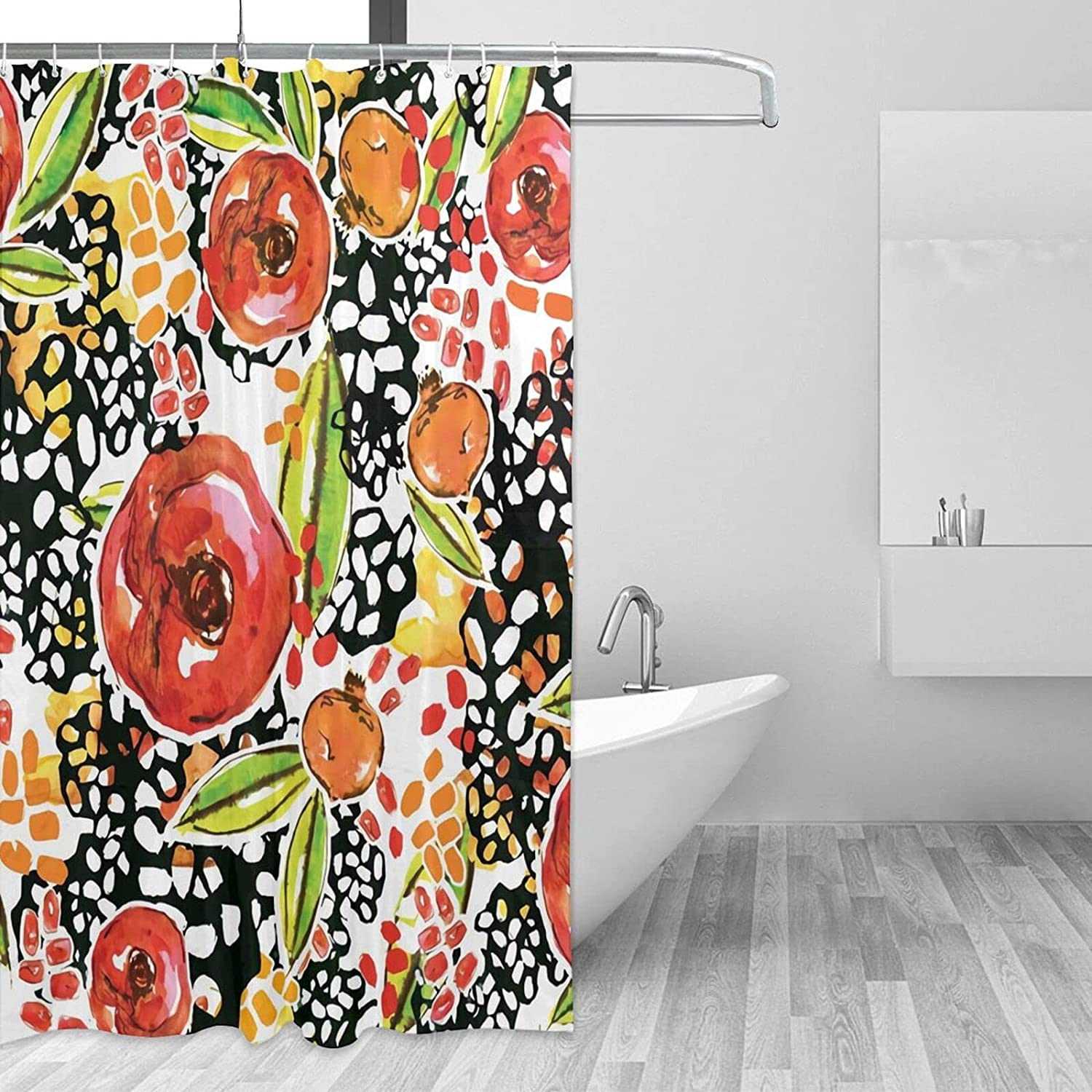 Poppypoms Bathroom Shower Curtain with Cheap super special price Max 43% OFF X Hooks Waterpro 72