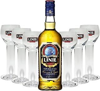 Linie Aquavit Norwegische Spezialität 0,7l 700ml 41,5% Vol  6x Gläser 2cl geeicht