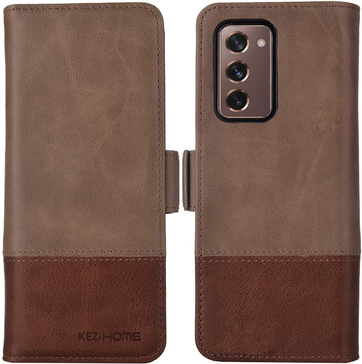 KEZiHOME Samsung Galaxy Z Fold 2 5G Case, Genuine Leather Galaxy Z Fold 2 Wallet Case [RFID Blocking] with Card Slot Flip Magnetic Case Compatible with Samsung Galaxy Z Fold 2 5G (Gray/Brown)
