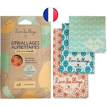 L'Embeillage®, Le Bee Wrap français - Emballage Alimentaire réutilisable - Fabriqué en France, Bio et 100% Naturel en Cire d'Abeille (Origami, Découverte (S, M, L))