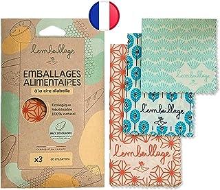 L'Embeillage®, Le Bee Wrap français - Emballage Alimentaire réutilisable - Fabriqué en France, Bio et 100% Naturel en Cire...