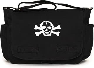 Heavyweight Canvas Messenger Shoulder Bag Carry-All Diaper Bag with Scribble Skull One Size Black 205-BK SKL
