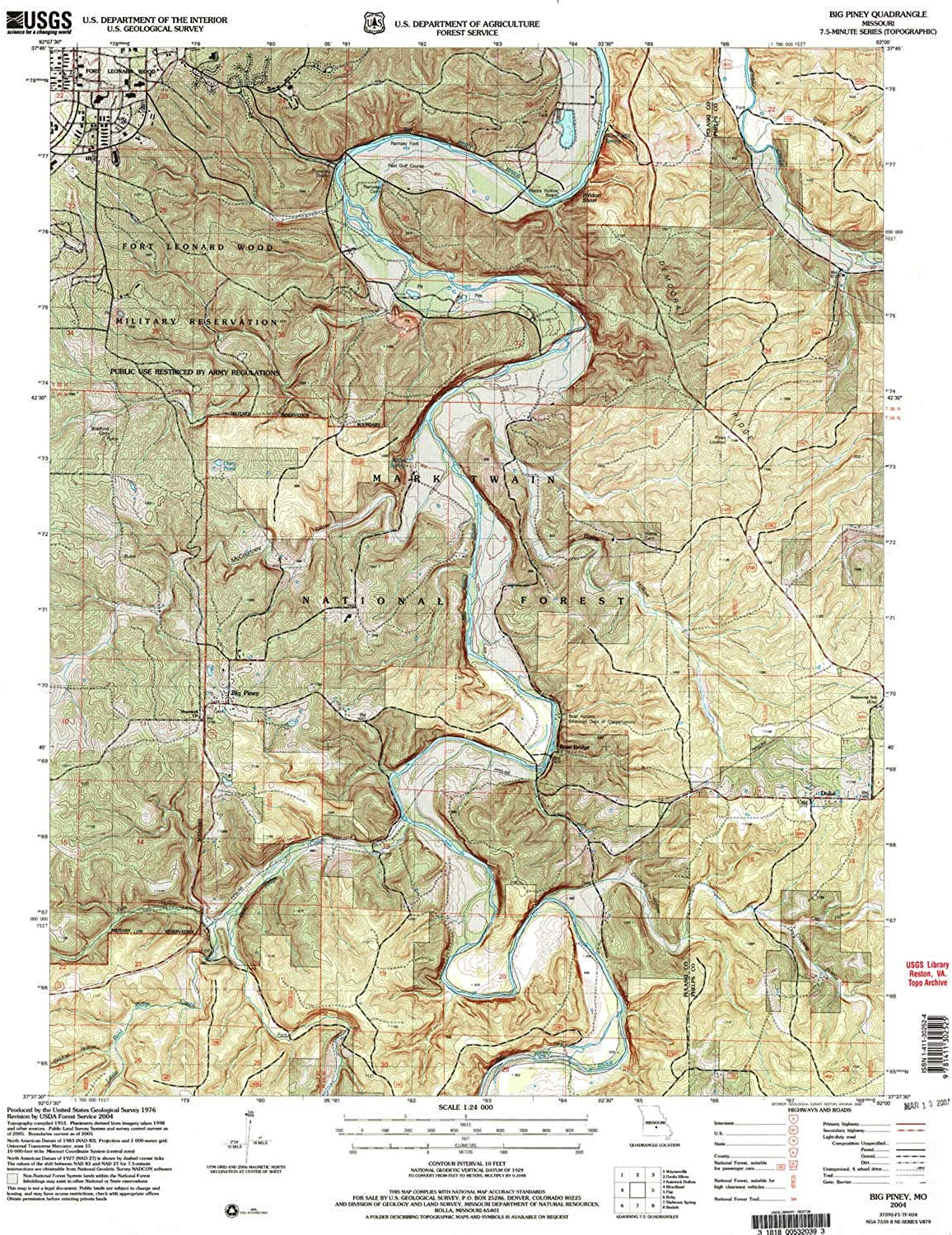Big Piney MO topo map, 1 24000 Scale, 7.5 X 7.5 Minute, Historical, 2004, Updated 2006, 26.8 x 22 in