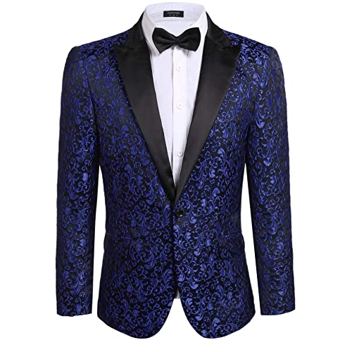 2be53d19795 COOFANDY Men s Floral Party Dress Suit Stylish Dinner Jacket Wedding Blazer  Prom Tuxedo