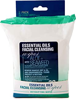 Essential Oils Detoxifying Facial Cleansing Makeup Remover Wipes with Aloe and Seaweed - 2 Pack (60 Count)