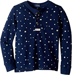 Star Print Cotton Mesh Henley (Little Kids/Big Kids)