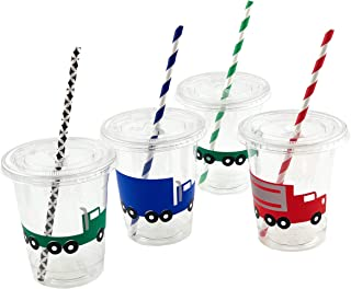 Semi Truck Party Cups - 12ct Transportation Big Rig Birthday Party Baby Shower