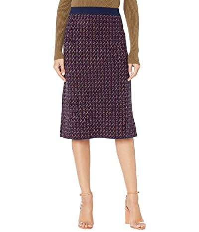 J.Crew Long Sweater Skirt (Navy/Cerise/Honey) Women