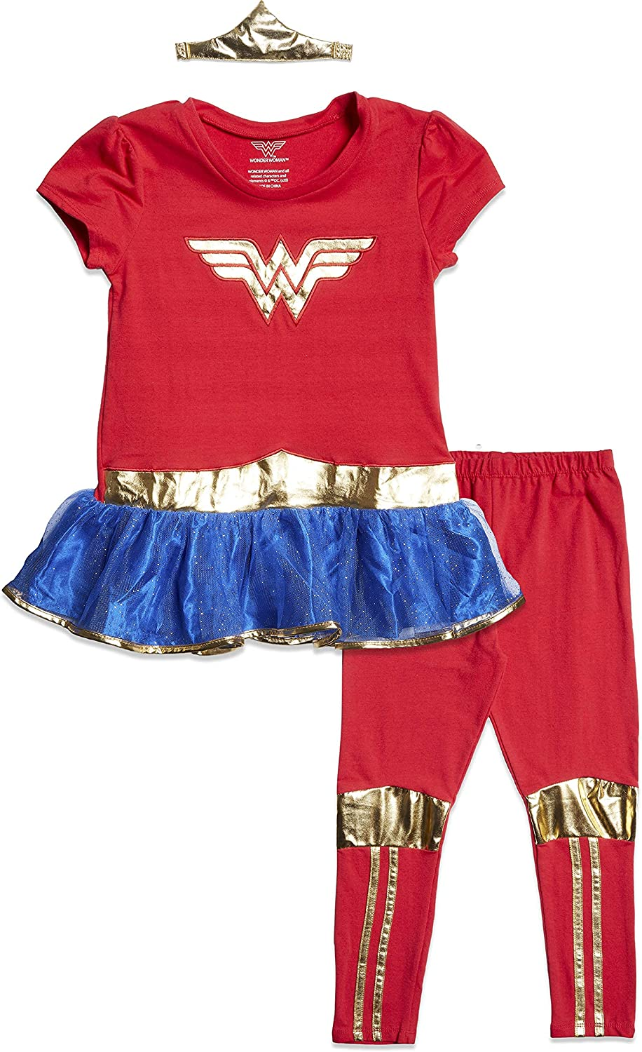 Cheap mail order specialty store DC Comics Girls Wonder Woman Costume Set Leggings Spring new work and wi T-Shirt