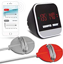 SHARPER IMAGE Bluetooth Smartphone Grill Thermometer, iOS/Android Capability W/App, Meat Probes Plus Pairing Indicator Ensure Doneness, Easy Read Digital Display, Heat Resistant, Great for BBQs/Oven