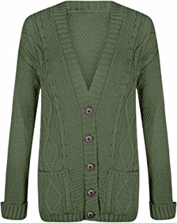 Momo&Ayat Fashions Ladies Long Chunky Cable Knitted Button Cardigan AUS Size 8-26