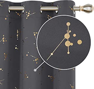 Deconovo Foil Printed Constellation Pattern Curtains Grommet Blackout Curtains Thermal Insulated Window Drapes for Nursery Room 1 Pair 42 x 72 inch Dark Grey