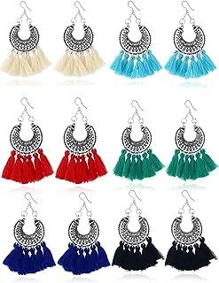 Trounistro Woven Rattan Tassel Earrings Tassel Hoop Earrings Bohemian Geometric Statement Drop Earrings for Women Girl