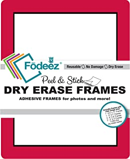 Fodeez Frames 8 Reusable, Long-Lasting Peel and Stick Wall Decal with Dry Erase Mark, Red/Black (FF-ALL-08-DORM-RED-BLA)