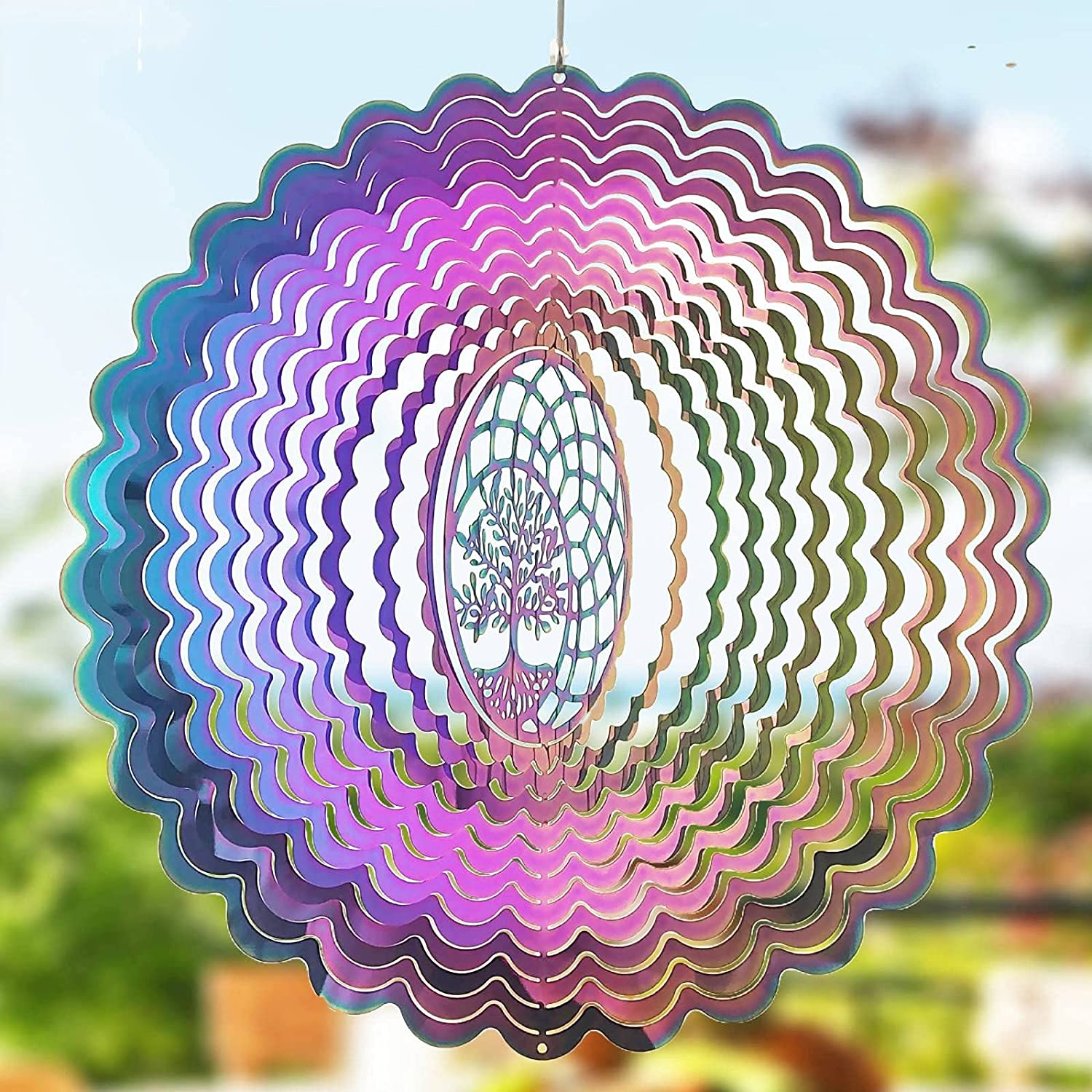Wind Spinners-Hanging Wind Spinner for Yard and Garden,Kinetic 3D Metal Outdoor Garden Decor Wind Spinner,Yard Spinners Wind Catcher Chime Sculpture Art Decorations-Windspinner Tree of Life 10