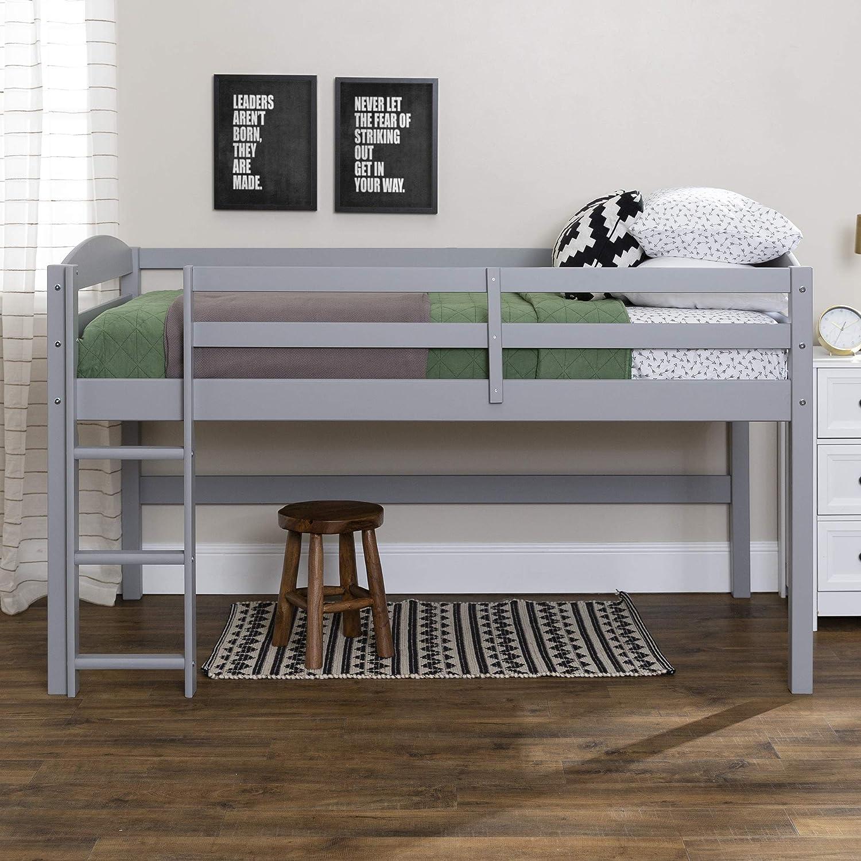 Walker Edison WE Furniture Solid Wood Low Loft Twin Bed-Grey
