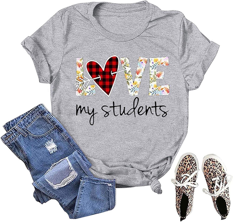 POLLYANNA KEONG Shirts for Women,Women Valentines Day Shirt Love Heart Graphic T Shirt Plaid Leopard Print Casual Short Sleeve Top Grey