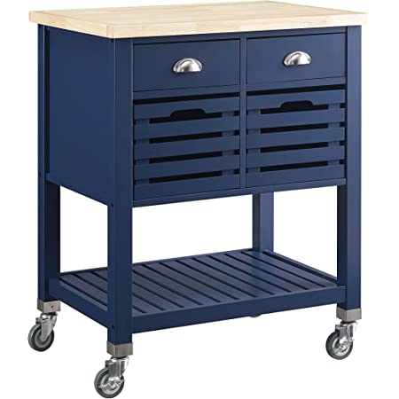 Linon Home Decor Products Clea Kitchen Cart, Denim with Wood Top