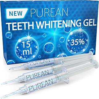Purean Teeth Whitening Gel Refills - Pack of 3 x 5ml - 35% Tooth Bleaching Carbamide Peroxide Gel Syringes - Professional Dental Grade Bleaching Formula