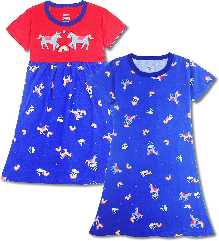 ZEBZOO Girls Nightgowns Kids Pajamas Cotton Night Dress Short Sleeve Sleepwear 3-10 Years
