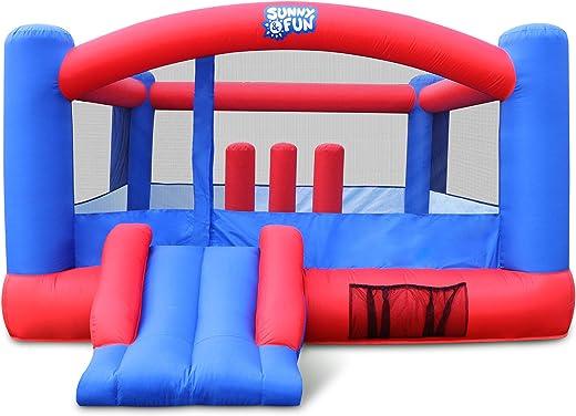 充气弹跳屋 | 巨型 12 x 10.5 英尺充气跳跳跳城堡 适用于儿童,带风机、携带包、桩子和维修套件 | 方便设置,适合数小时后院玩耍和派对玩耍 | 适合 3 – 10 岁儿童