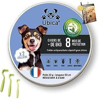 Ubica® (X2) Collier Anti Puces pour Chien Naturel Anti Tiques pour Grand Chien (+8kg) – Répulsif – A Base d'Huiles Essenti...