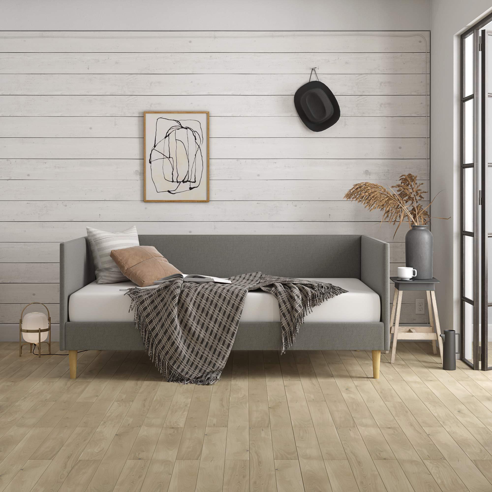 minimalist furniture amazon comdhp franklin mid century daybed, mid century modern design, rich grey linen upholstery