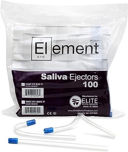 "Element Saliva Ejector - 6"" - Clear w/Blue Tip (Bag of 100)"