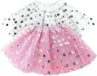 OLYPHAN Tutu for Toddler Girls Polka Dot Pink & White Tutu Skirt Set - Tulle Skirts Toddlers/Two Tutus -, Girl Dress Up Bi...