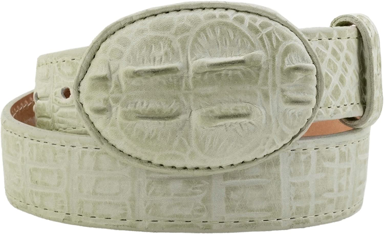 Kids White Western Cowboy Belt Crocodile Print Leather Rodeo Buckle 20