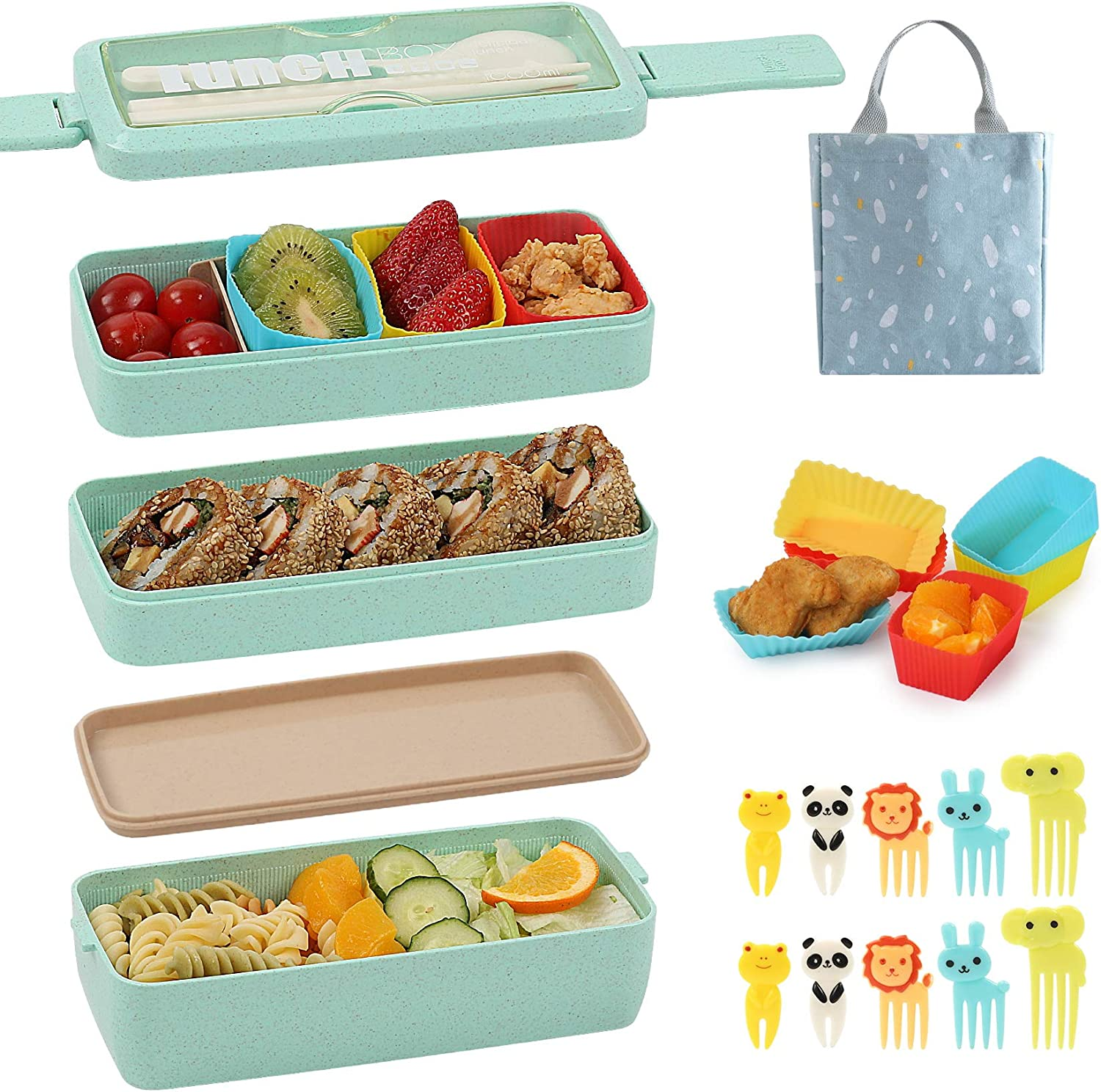 Bento Box for Bargain sale Kids with Silicone Cups Cupcake Food Translated Baking Pick