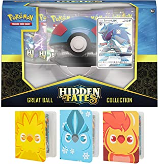 Totem World Hidden Fates Poke Ball Collection: Great Ball with 3 Totem Mini Binder Collectors Album Inspired Moltres Zapdos & Articuno for Pokemon Cards Tag Team GX Rare Holo Common or Uncommon TCG
