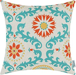 CaliTime Canvas Throw Pillow Cover Case for Couch Sofa Home Decoration Three-Tone Dahlia Floral Compass Geometric 18 X 18 Inches Turquoise/Yellow/Orange Red