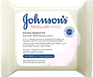 Johnson's Cleansing Face Micellar Wipes, Extra-Sensitive for All Skin Types, 25 Wipes