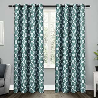 Exclusive Home Curtains Gates Sateen Blackout Thermal Window Curtain Panel Pair with Grommet Top, 52x84, Teal 2 Piece
