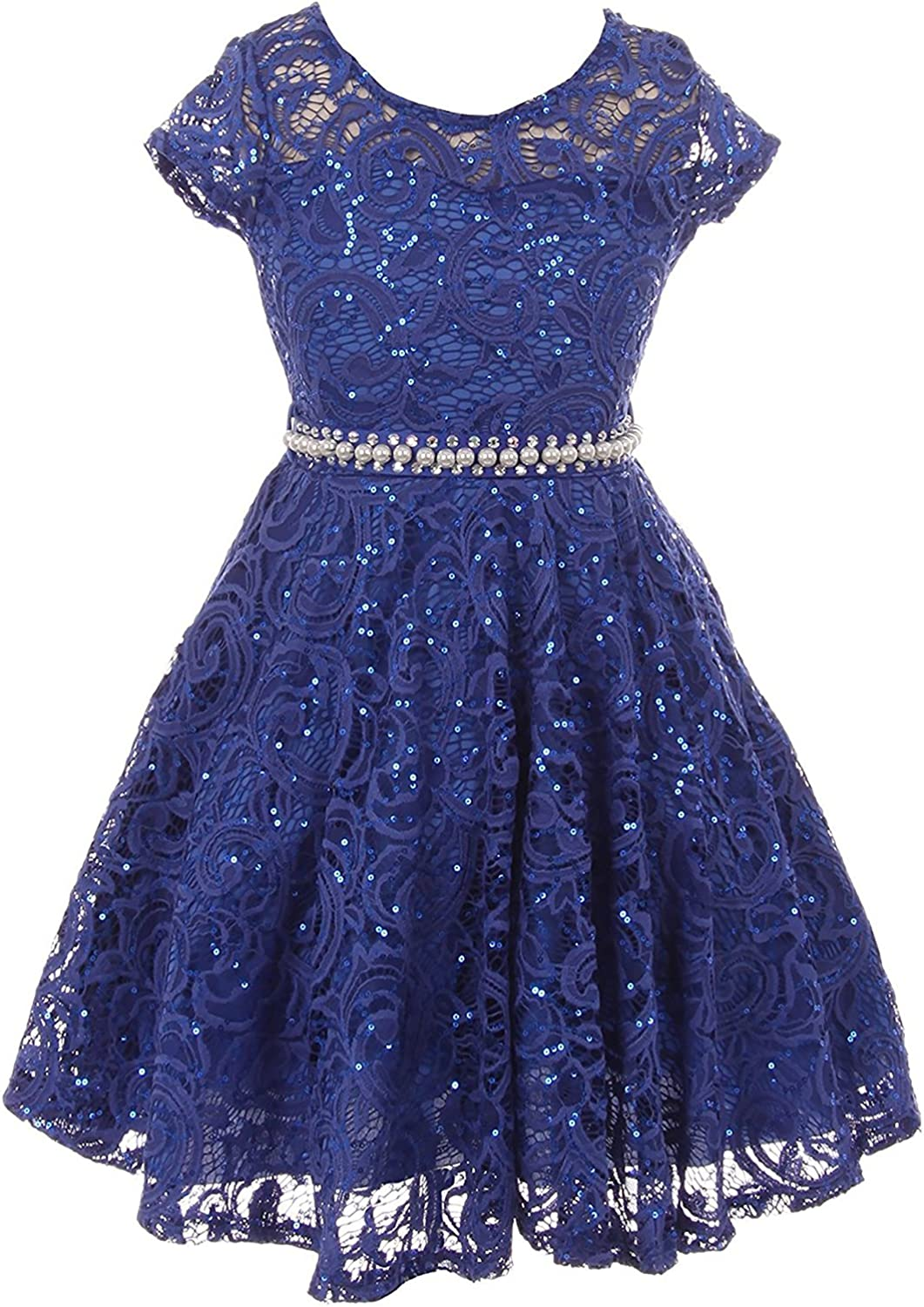 iGirlDress Cap Sleeve Floral Lace Glitter Pearl Holiday Party Flower Girl Dress Size 4-16
