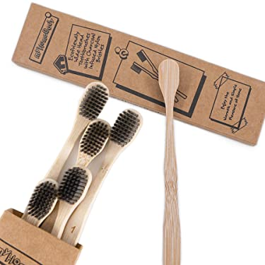 Wide Head Bamboo Toothbrush with Extra Soft Charcoal Bristles - Ecofriendly, Biodegradable Tooth Brush | Ergonomic Handles, Made from Sustainable Bamboo | 6 Pack