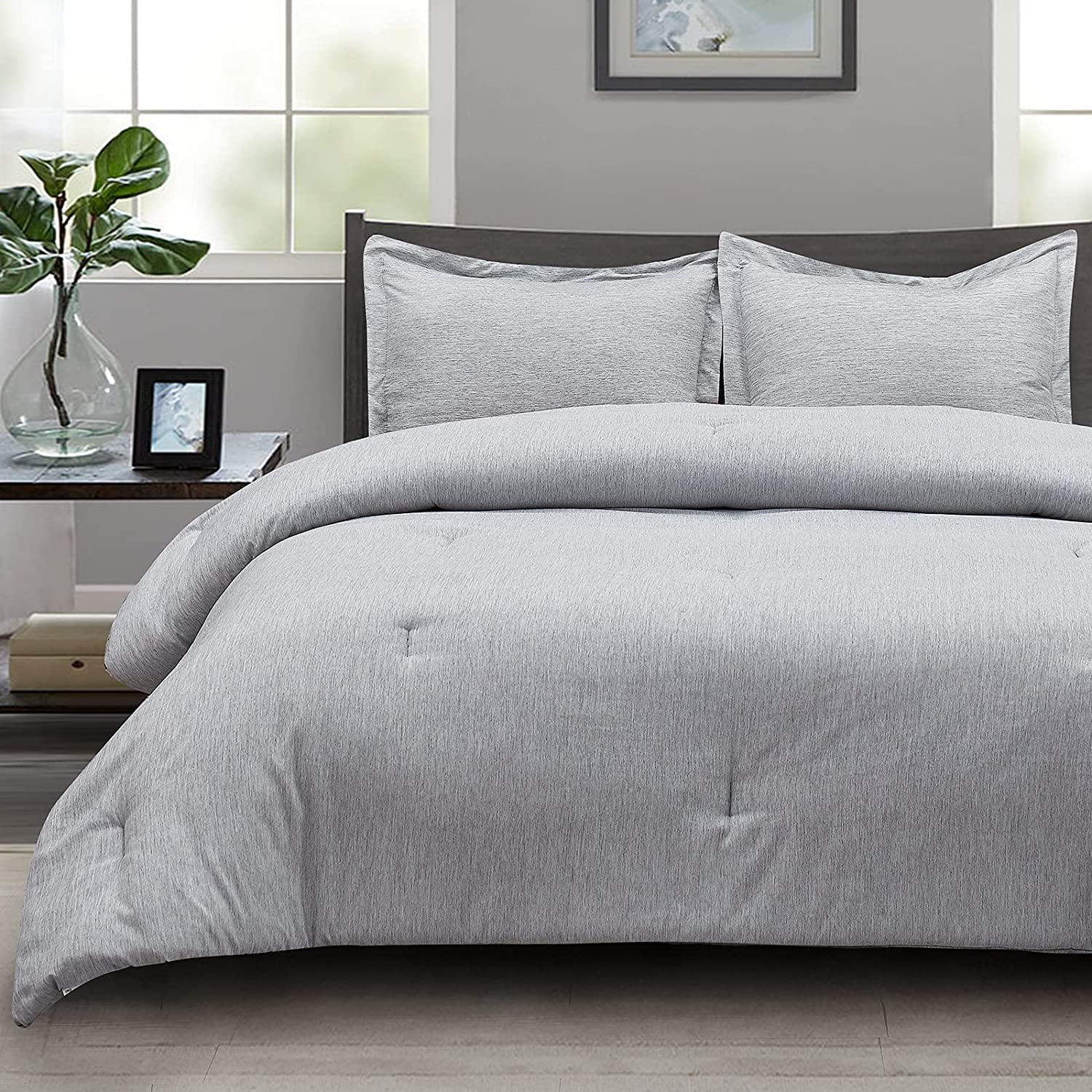 CozyLux Twin Comforter Set Max 76% OFF Grey 2-Piece Bed Dyeing Cationic Soft Boston Mall