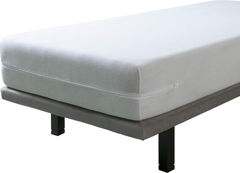 SAVEL - Funda de colchón elástica de Algodón | Pack de 2-90x190/200cm | Protector de colchón con Cremallera. Tejido de Rizo 100% Algodon Muy ...