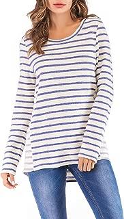 Eanklosco Basic Hoodie Womens Casual Long Sleeve Striped Shirt Lightweight Drawstring Hooded Sweatshirt