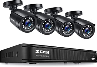 ZOSI 8-Channel HD-TVI 1080p Lite Security Camera System 4in1 DVR with 4PCS 1280TVL(720p),100ft(30M) Night Vision Weatherpr...